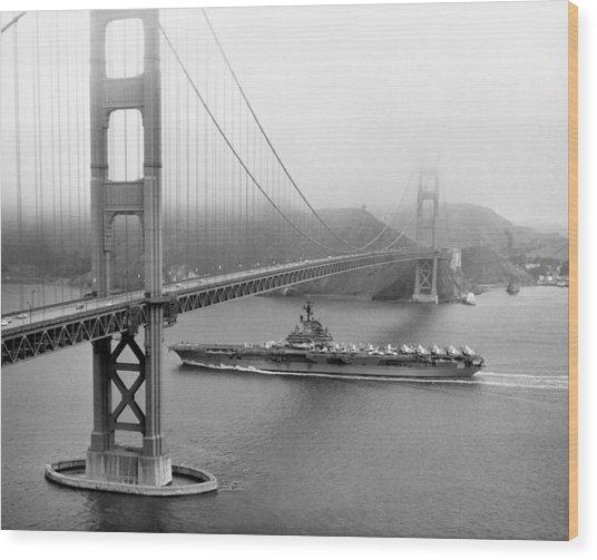 1957 Uss Hancock In San Francisco Wood Print