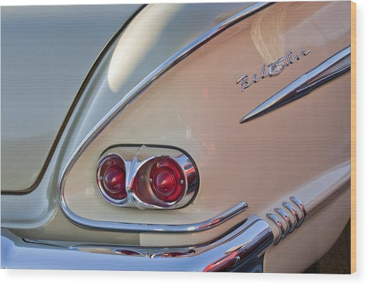 1958 Chevrolet Belair Taillight Wood Print