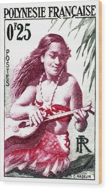 1958 French Polynesia Guitar Girl 25fr Postage Stamp Wood Print