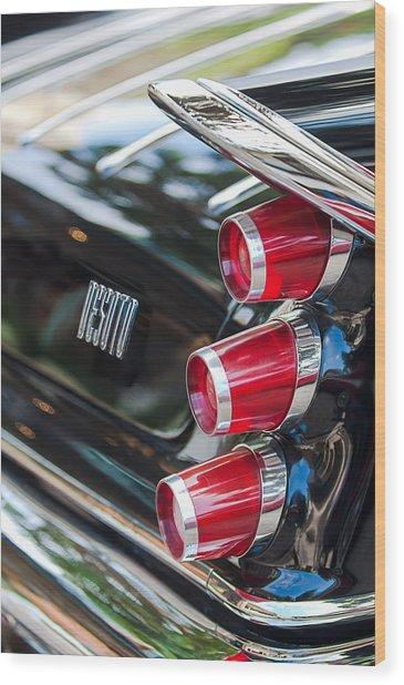 Wood Print featuring the photograph 1959 Desoto Adventurer Hardtop Coupe 2-door Taillight Emblem by Jill Reger