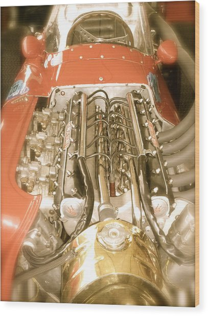 1959 Tecnia Meccanica Maserati 250f Engine Detail Wood Print