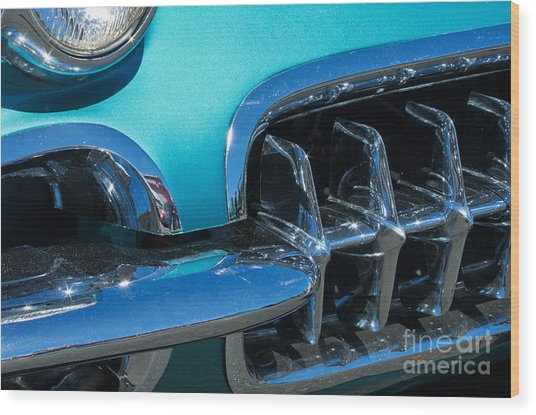 1960 Chevy Corvette Headlight And Grill Abstract Wood Print
