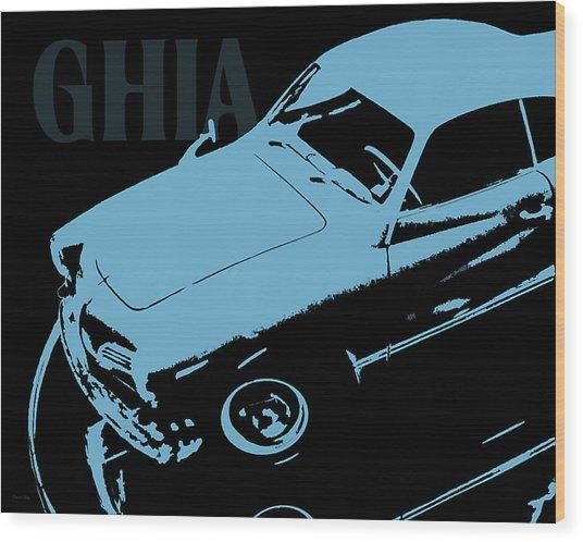 1962 Karmann Ghia Pop Art Blue Wood Print