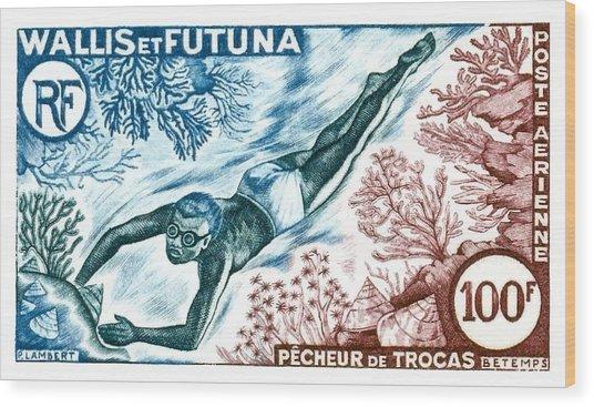 1962 Wallis And Futuna Shell Fisherman Postage Stamp Wood Print