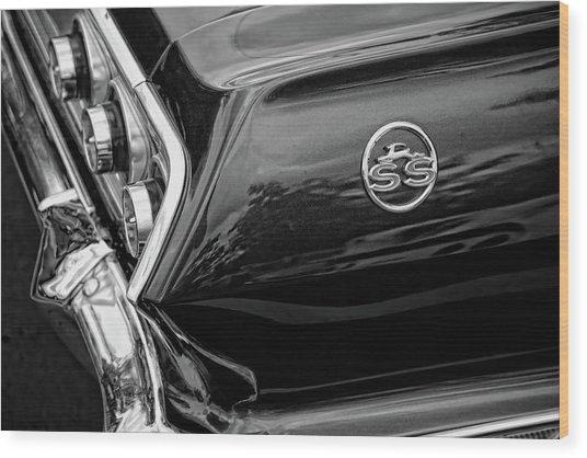 1963 Chevrolet Impala Ss Black And White Wood Print