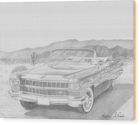 1964 Cadillac Series 62 Convertible Classic Car Art Print Wood Print by Stephen Rooks