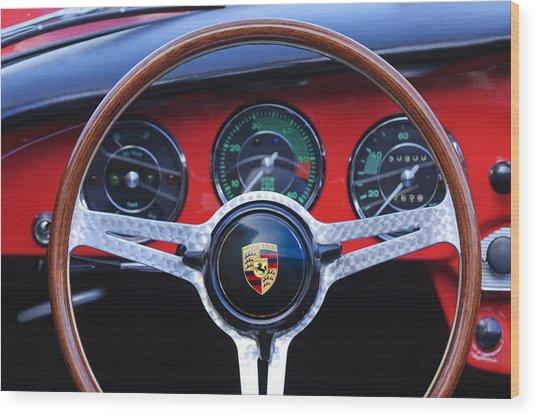 1964 Porsche C Steering Wheel Wood Print by Jill Reger