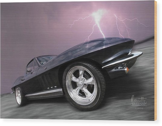 1966 Corvette Stingray With Lightning Wood Print
