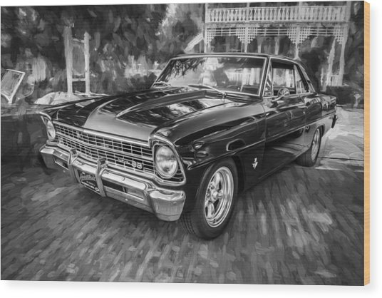 1967 Chevrolet Nova Super Sport Painted Bw 1 Wood Print