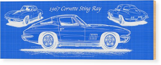 1967 Corvette Sting Ray Coupe Reversed Blueprint Wood Print