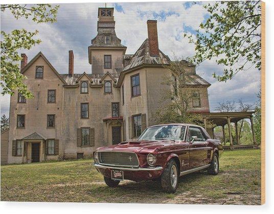 1967 Mustang At The Mansion Wood Print