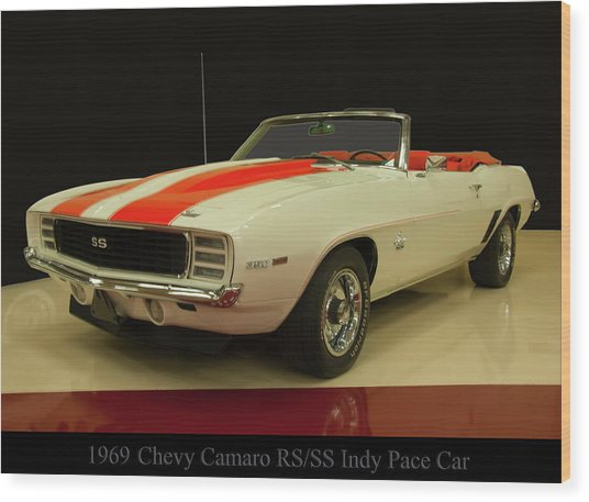 1969 Chevy Camaro Rs/ss Indy Pace Car Wood Print
