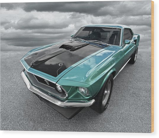 1969 Green 428 Mach 1 Cobra Jet Ford Mustang Wood Print