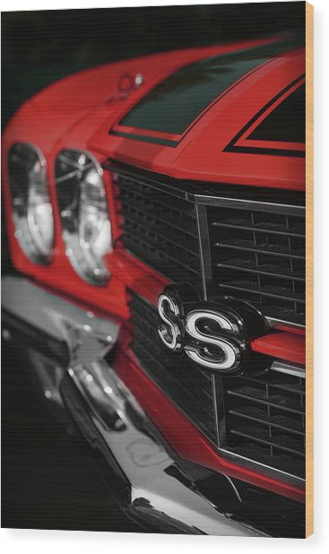 1970 Chevelle Ss396 Ss 396 Red Wood Print