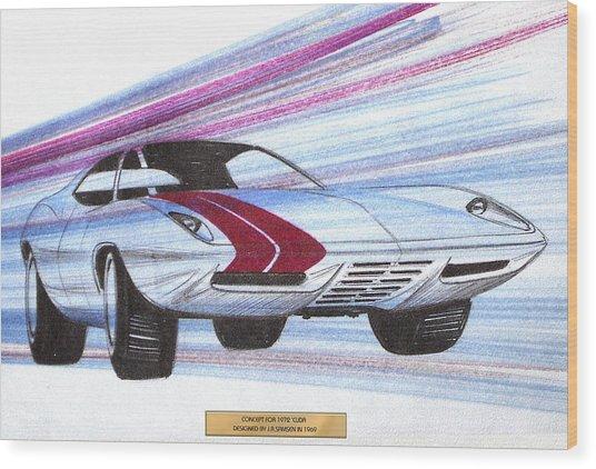 1972 Barracuda  Vintage Styling Design Concept Sketch Wood Print by John Samsen