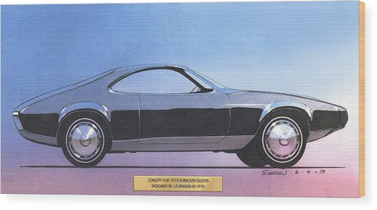 1973 Duster  Plymouth  Vintage Styling Design Concept Sketch Wood Print by John Samsen