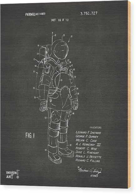 1973 Space Suit Patent Inventors Artwork - Gray Wood Print