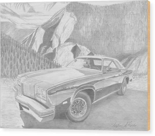 1976 Oldsmobile Cutlass Supreme Classic Car Art Print Wood Print by Stephen Rooks