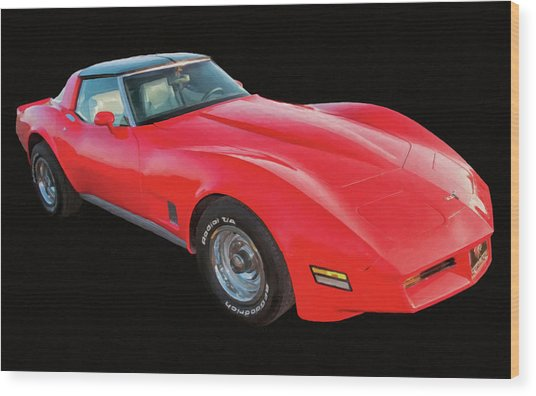 1977 Chevy Corvette T Tops Digital Oil Wood Print