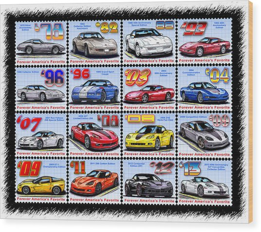 1978 - 2013 Special Edition Corvette Postage Stamps Wood Print
