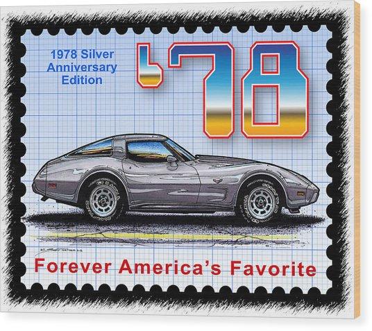 1978 Silver Anniversary Edition Corvette Wood Print
