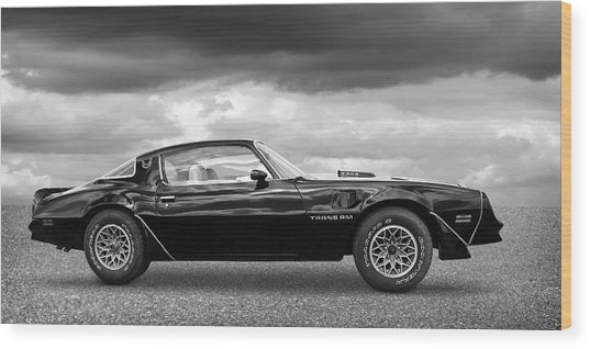 1978 Trans Am In Black And White Wood Print