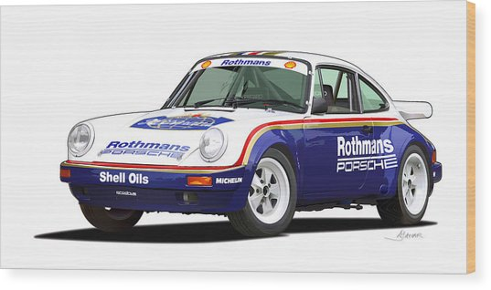 1984 Porsche 911 Sc Rs Illustration Wood Print