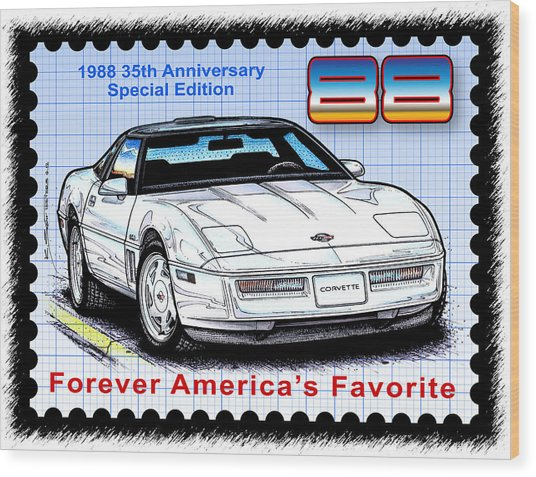 1988 35th Anniversary Special Edtion Corvette Wood Print