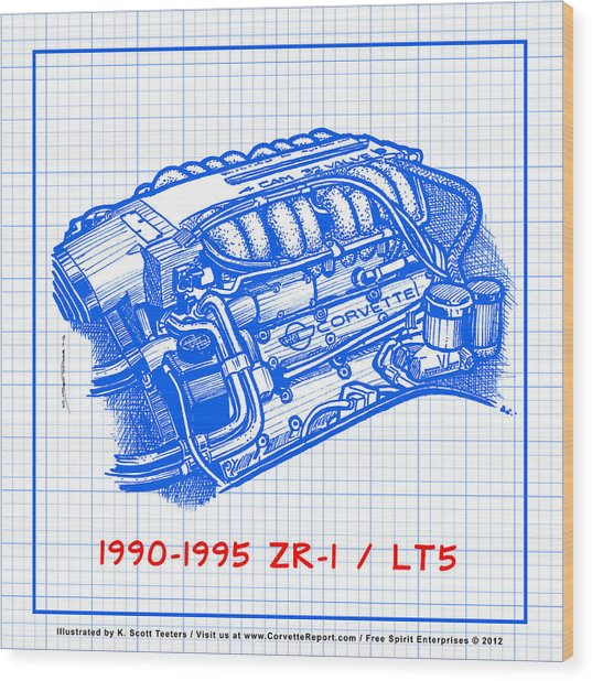 1990-1995 C4 Zr-1 Lt5 Corvette Engine Blueprint Wood Print