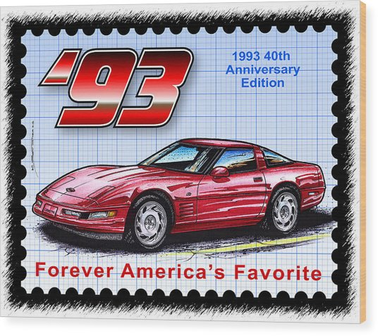 1993 40th Anniversary Edition Corvette Wood Print