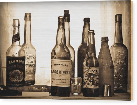 19th Century Liquor Bottles  Wood Print