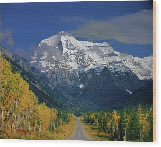 1m2441-h Mt. Robson And Yellowhead Highway H Wood Print