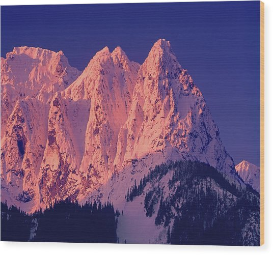 1m4503-a Three Peaks Of Mt. Index At Sunrise Wood Print