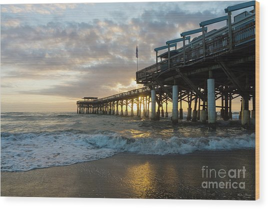 1st Sunrise 2017 Cocoa Beach Wood Print