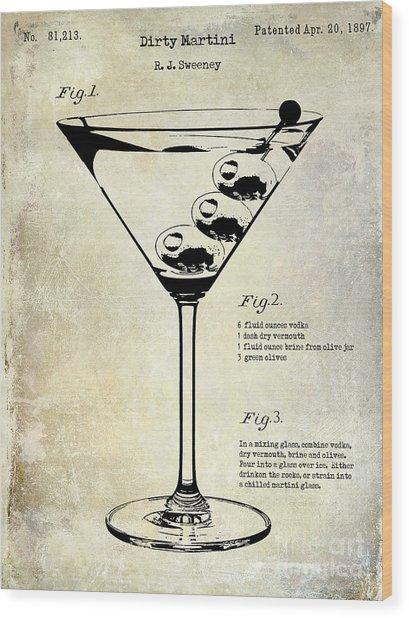 1897 Dirty Martini Patent Wood Print