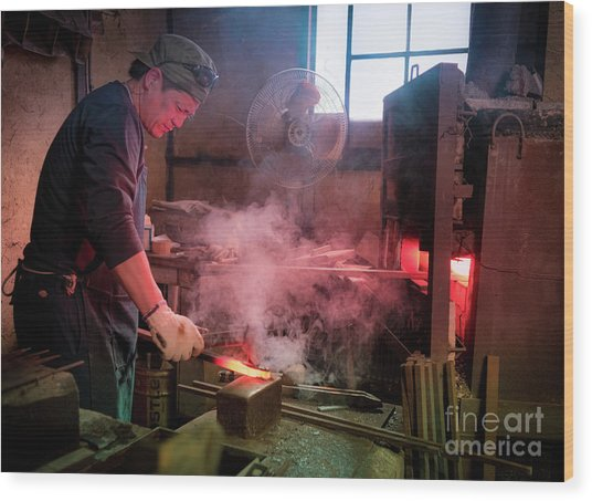 4th Generation Blacksmith, Miki City Japan Wood Print