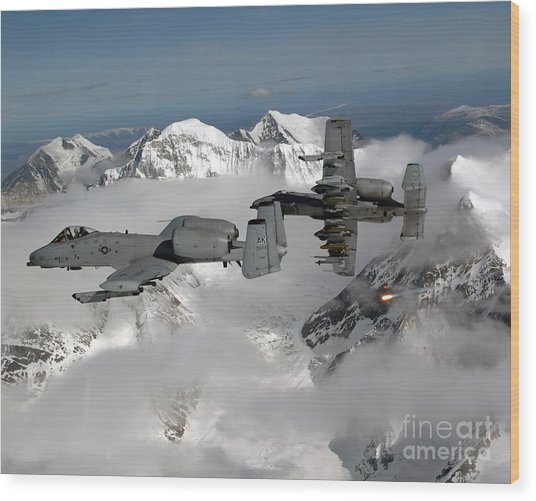 Wood Print featuring the photograph A-10 Thunderbolt IIs Fly by Stocktrek Images