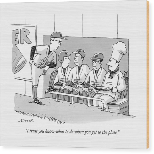 A Coach Is Standing By A Baseball Dugout Wood Print