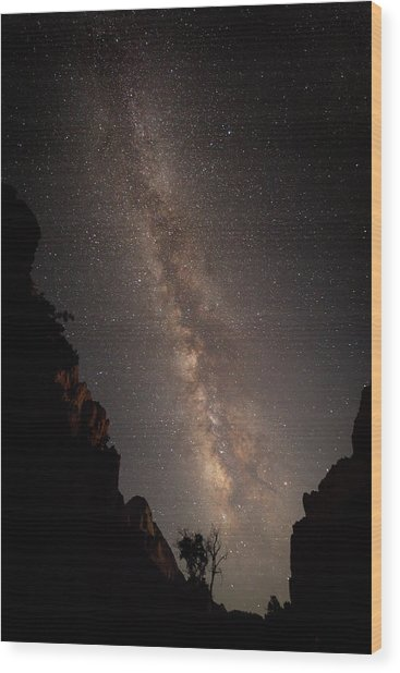 A Dark Night In Zion Canyon Wood Print