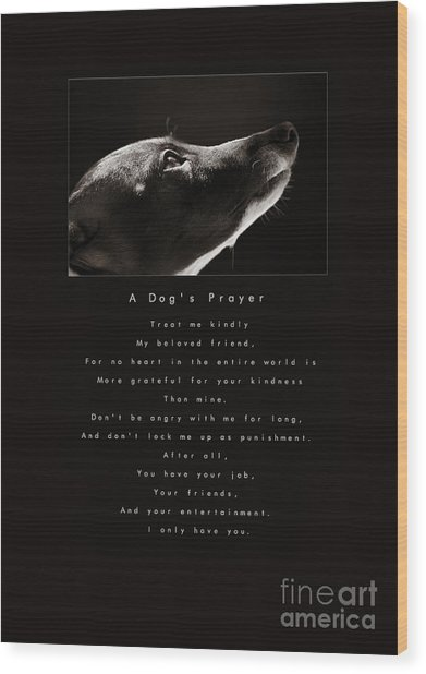 A Dog's Prayer  A Popular Inspirational Portrait And Poem Featuring An Italian Greyhound Rescue Wood Print