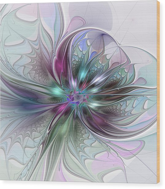 Colorful Fantasy Abstract Modern Fractal Flower Wood Print