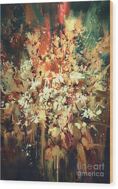 Wood Print featuring the painting Abstract Flowers by Tithi Luadthong