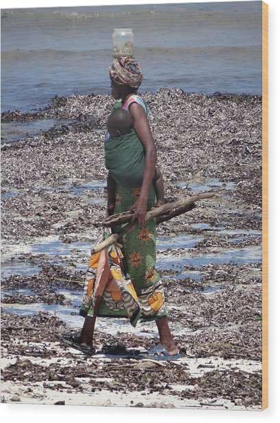 African Woman Collecting Shells 1 Wood Print
