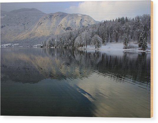Alpine Winter Reflections Wood Print