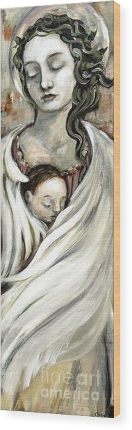 Angel And Baby Wood Print