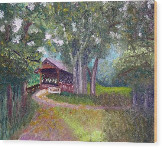 Avon Covered Bridge Wood Print by Stan Hamilton