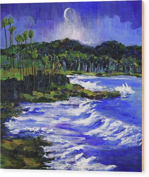 Blue Moon Over Laguna Beach Wood Print