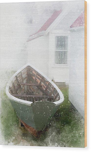 Boat On Monhegan Island Wood Print
