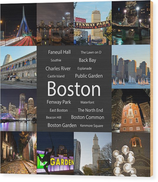 Boston Ma Collage Wood Print