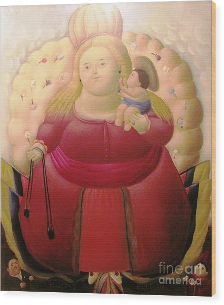 Botero Woman And Child Wood Print